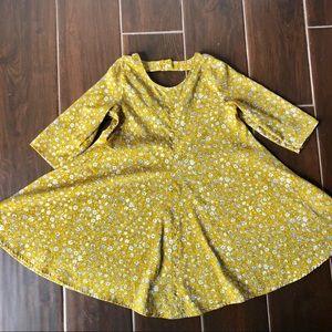 Girls Yellow Floral Skater Dress